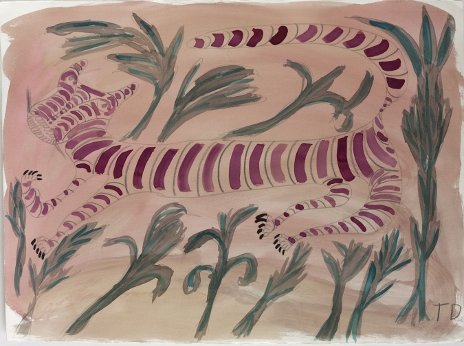 Tiger Wants to be Alone by Thornton Dial. Watercolor and graphite on Lanaquarelle paper, 1990.