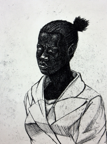"Untitle Woman by Kerry James Marshall. 24.5"" x 19"" hardground etching, 2010."